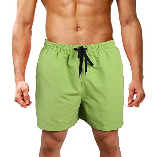 LK LEKUNI Bañador Hombre Pantalones de Playa con Forro con Cordón Traje de Baño Pantalón Ceñido_Verde_XL