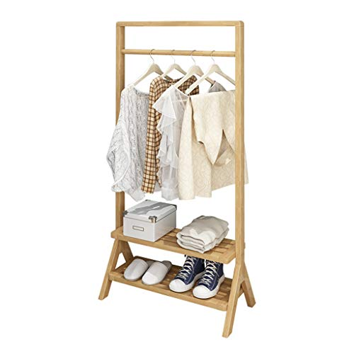 Durable Rack de ropa de riel individual: ropa de soporte de capa de madera Organizador Wadrobe, estante de almacenamiento colgante con estante de almacenamiento inferior de 2 niveles para abrigos, rop