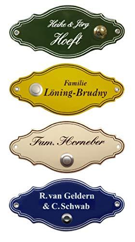Emaille-Klingel-Namensschild-Klingelschild-Form Türschild-175 x 75 mm-Türklingel-Klingel-mit Wunschtext (525 = Schild mit Klingel rechts + 2 Textzeilen)