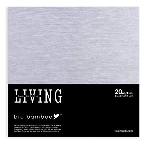 bio bamboo BIO Color Stone Grey 40x40 Tovaglioli monouso, Viscosa di bambù e cellulosa, Grigio, 20 unità