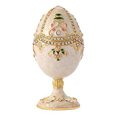 QIFU Vintage Musikspieluhr Fabergé-Ei | handbemalt emailierten Dekorative Schmuck Schmuckkästchen | Einzigartige Cift für Home Decor und Sammeln