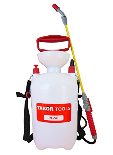 TABOR TOOLS 1.3 Gallon Lawn and Garden Pump Pressure Sprayer for Herbicides, Fertilizers, Mild Cleaning Solutions and Bleach, Includes Shoulder Strap. N-50. (1.3 Gallon)
