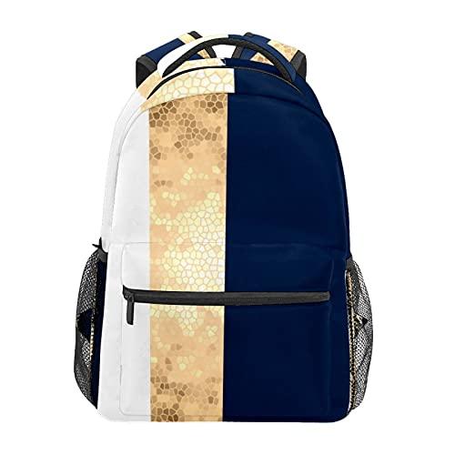 Golden Navy Blu Bianco Strisce Daypack Zaino Scuola College Viaggi Escursioni Moda Laptop Zaino per le Donne Uomini Teen Casual Borse di Tela
