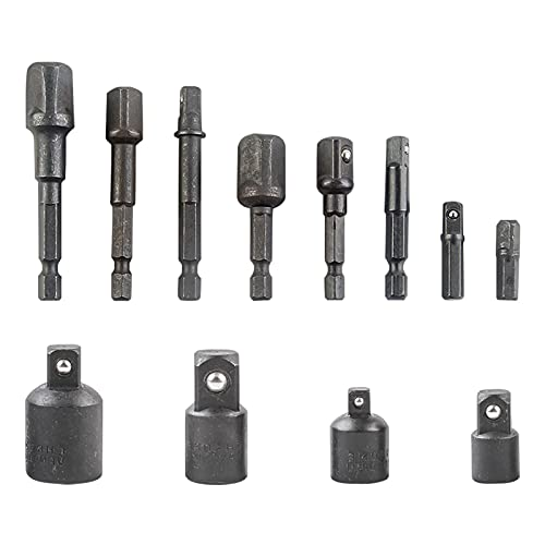 12pcs Socket Adapter, Ratchet Wrench Extension Rod Socket Adapter Drill Bits Set Craftsman Tool for Mechanics, Engineers(Silver)