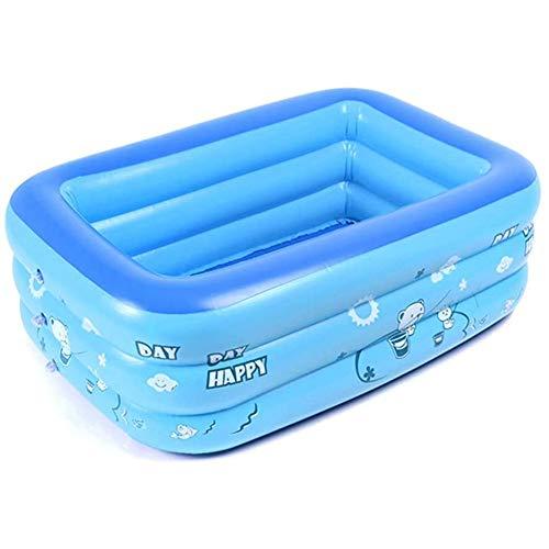 WZM Niños Piscina Hinchable para Niños Verano Piscina Infantil Azul Rectangular Piscina para Bebés Inflable con Bomba para Actividades Familiares Aire Bomba (Color : 1.3m)