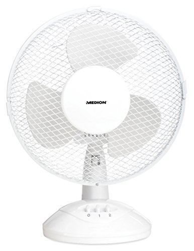 Medion MD 18166 tafelventilator, 30 Watt vermogen, 2 snelheidsniveaus, 23 cm diameter, wit