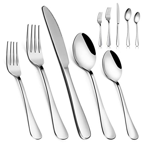 Silverware Set,MASSUGAR 20-Piece Silverware Flatware Cutlery Set, Stainless Steel Utensils Service for 4, Include Knife/Fork/Spoon, Mirror Polished...