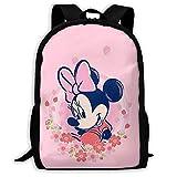 Beating Heart Mochila Escolar, Regalo Casual Rosado de Encargo de la Mochila del Viaje del Bolso de Escuela de la Mochila de Minnie Mouse