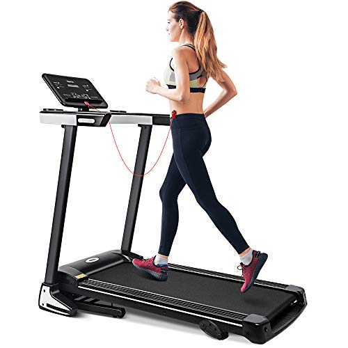 ONETWOFIT Folding Electric Treadmill, 2.0HP Motor, Automatically add lubricating oil, Soft drop system, Running Surface 122x40 cm, Ideal for Home/Office