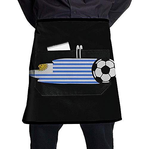 Uruguay Flag Balón de fútbol Unisex Restaurante occidental Cocina Delantales cortos Mono sin mangas Portátil con bolsillo para cocinar, hornear, hacer manualidades, jardinería, barbacoa