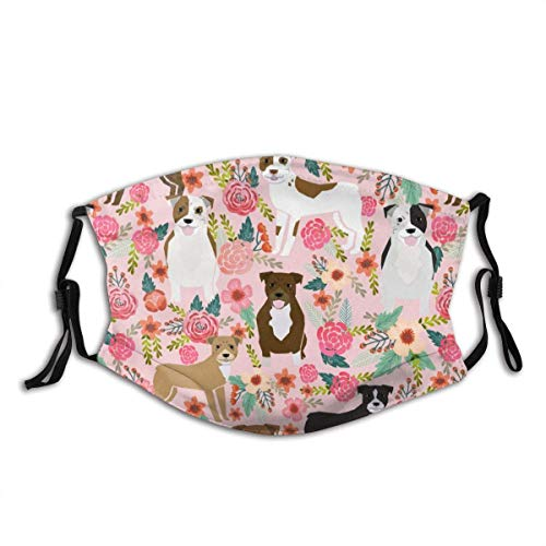 Face Cover,Pitbulls Pitbull Terriers Dogs Cute Best Flowers Pink Floral Dog Print Cute Dogs Reusable Cloth Mask Protect Cover Balaclava