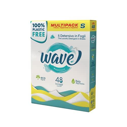 Wave Washing Classic - Il Detersivo in Fogli - 100% PLASTIC FREE - Multipack S - 48 Lavaggi - Ecologico - Biodegradabile - Compostabile