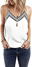 BLENCOT Women Fashion Sexy V Neck Strappy Embroidery Tank Tops Loose Casual Sleeveless Tops Shirts White S