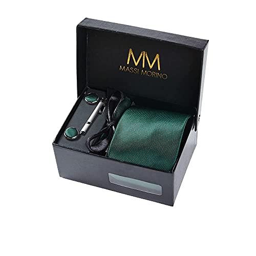 Massi Morino Krawatte mit Einstecktuch Set I inkl. Manschettenknöpfe und Krawattennadel I Herren Geschenkbox (Dunkelgrün)