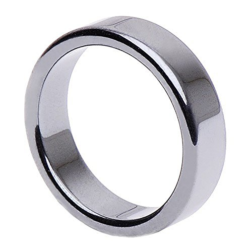 Hämatit Ring Fingerring Fingerschmuck Unisex schlicht flach glatt grau Steinring, Ringgröße:Innenumfang 60mm ~ Ø19.1mm
