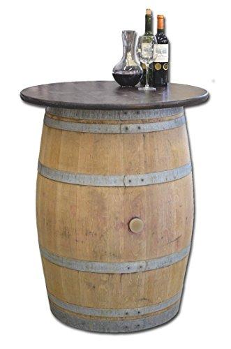 Temesso Weinfass als Stehtisch mit Tischplatte D 80 cm - Fass Natur (Nussbaum)