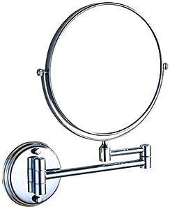 Relación calidad-precio 8 (o 6) pulgadas de montaje en pared con luz Ronda de maquillaje Espejo con aumento de 3x, 360deg;Giratoria de alta definición, latón + acero inoxidable, Negro, 8 pulgadas comp