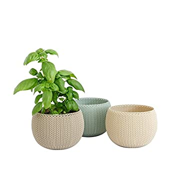 Keter 233076 Cozie Knit Planter, Extra Small Trio, Multi Colored