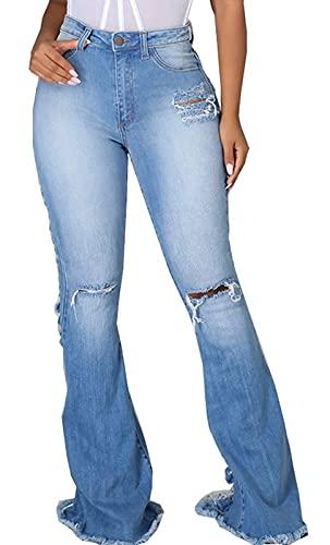 SeNight Bell Bottom Pants for Women Ripped Bell Bottom Jeans Distressed Frayed Raw Hem Elastic Flared Jean