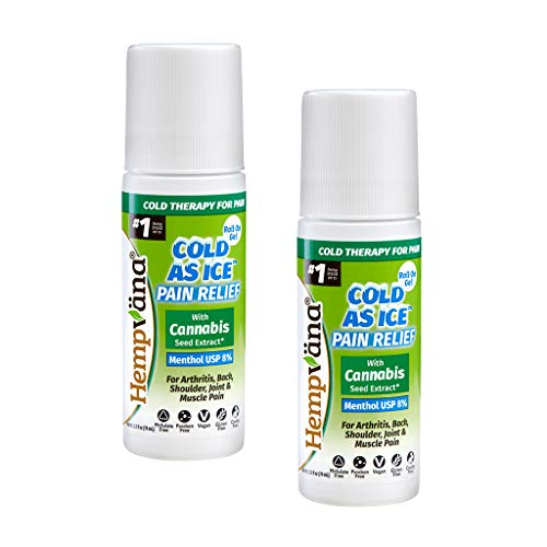 Hempvana Cold As Ice Cold Therapy for Pain, Convenient Pain Relief Roll On Gel with Menthol USP 8% & Enriched with Cannabis Seed Extract (2 Pack)