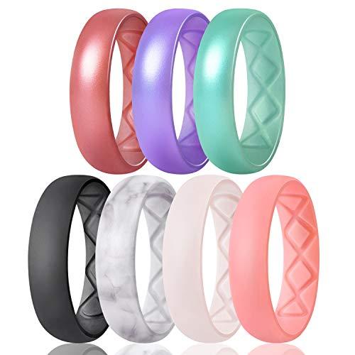 Egnaro Inner Arc Ergonomic Breathable Design, Silicone Wedding Ring for Women, Women's Silicone Wedding Band