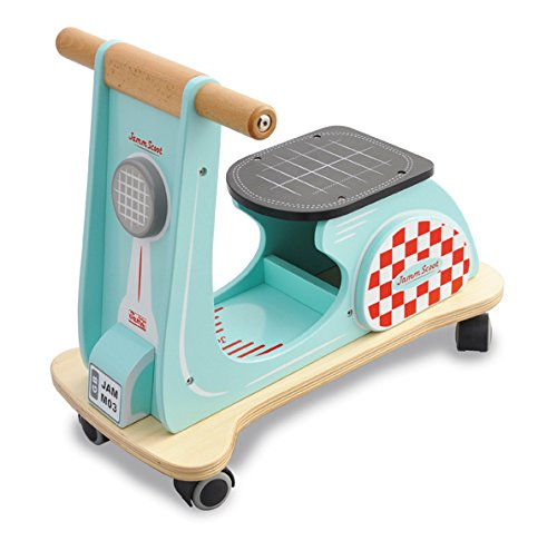 Indigo Jamm Wooden Jamm Scoot, Ride-On Scooter Toy with Retro Classic Design for Children Aged 12 Months Plus – Aqua Racer