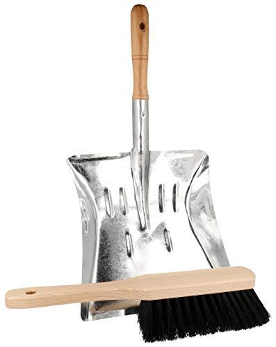 Lantelme Metall Kehrschaufel Handfeger Holz Set Robuste Schaufel verzinkt und Handbesen Borsten Schwarz 7705