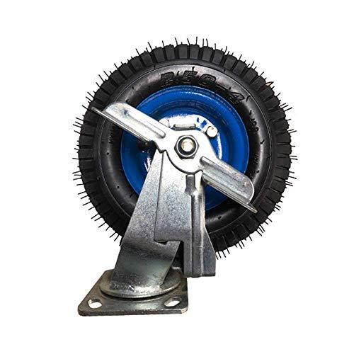 DXJL Verdikte gegalvaniseerde 8 inch pneumatische banden universeel wiel zware wielen kleine platte trolleys stille opblaasbare wielen dempen Remwiel