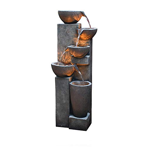 GF Gardenfans 5-Tier Outdoor Water Fountain Decor with LED Lighting Natural Looking Stone Resin Fountain Decor for Garden Patio Fold Court Yard Deck 12.99〃 L x 13.78〃 W x 39.76〃 H