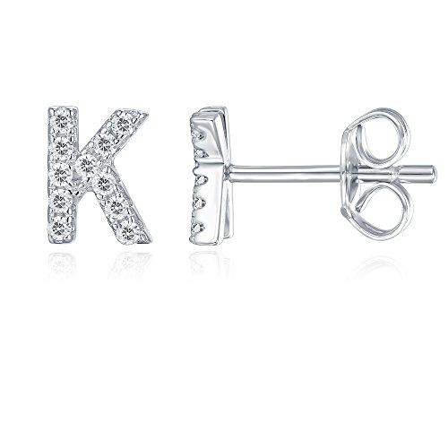 PAVOI 925 Sterling Silver CZ Simulated Diamond Stud Earrings Fashion Alphabet Letter Initial Earrings - K