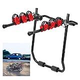 Portabicicletas trasero portón con correa, portabicicletas plegable de acero y hierro para 3 bicicletas, máximo carga 60kg