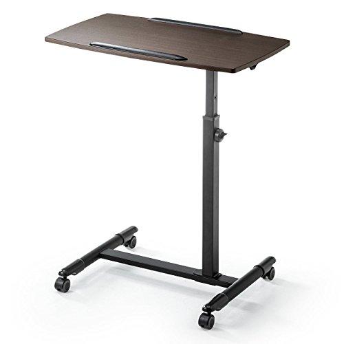 サンワダイレクト ノートパソコンスタンド ベッド ソファ サイドテーブル A3対応 高さ調整 キャスター付き 木目調 100-DESK044M