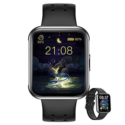 HQPCAHL Smartwatch Reloj Inteligente Mujer Pantalla 1.69'', Pulsera De Actividad con Pulsómetro Monitor De Presión Arterial Monitoreo De Oxígeno En Sangre IP68 Impermeable para Android iOS,Negro