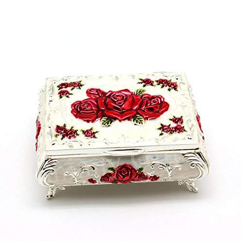 joyeros,Joyero de flor color de rosa, flor roja de caja de regalo de cumpleaños de boda de joyería de princesa europea