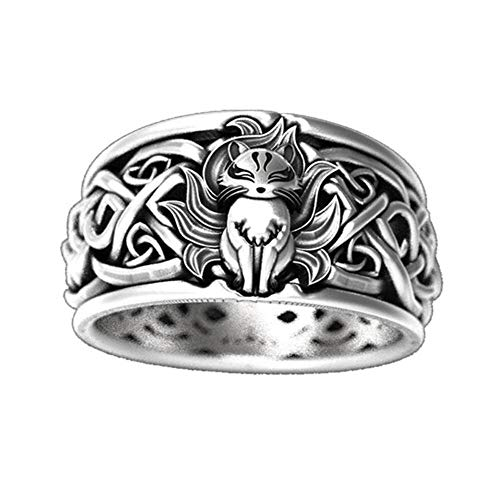 Men's Ring Nine-Tailed Fox Celtic Knot Ring Band Finger Statement Rings Retro Vintage Punk Hip Hop Silver Color Biker Cocktail Party Jewelry Anime Fans Gift for Men Women