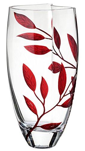 Anna's Exclusive Decor - Vaso in vetro soffiato a mano, decorato con foglie sabbiate e dipinte, in confezione regalo dorata, vaso trasparente a forma unica, 29 cm Rosso