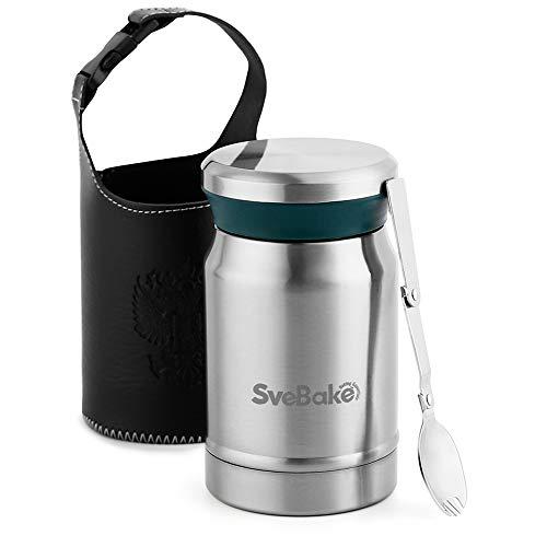 SveBake Thermobehälter für Essen Edelstahl 620ml | Isolierbehälter Gefäß Suppe Thermobox für warme | Speisegefäß | Thermo Lunchbox - Speisebehälter Lunch Becher mit Withbag und Löffel