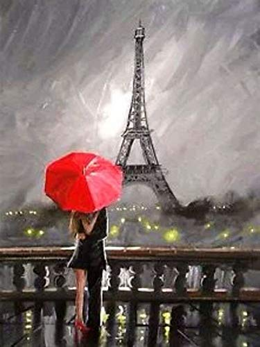 5D diamante'Torre pareja paisaje rojo' bordado de diamantes redondo completo Diy pintura de diamante punto de cruz decoración del hogar A6 50x70cm