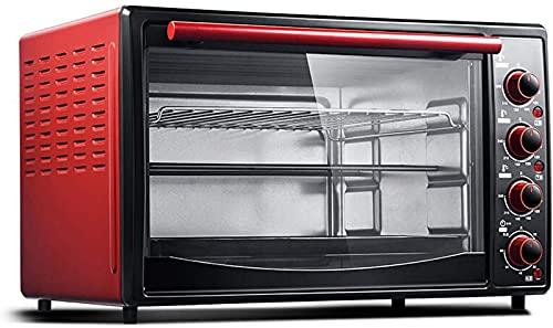 ZJDM 45L Rojo Mini Horno Hogar Horno Eléctrico Ajuste de Temperatura 90-240 ℃ y 60 Minutos Temporizador Calefacción de Tres Capas Nueve Tubos de Calefacción para Hornear Pastelería Barbacoa Puert