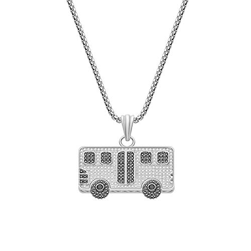 Heren Hip Hop Iced Out Chain Micro Pave Cubic Zirkoon Ambulance Bus Auto Hanger Ketting Onderscheidende Sieraden Gift