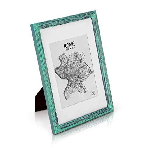 Marco Vintage de Madera SÓLIDA - Shabby Chic Originales - Paspartú para Fotos 20x15 cm incluida - Frente de Vidrio - ¡Anchura de los Marcos 2cm! - Turquesa Y Plata