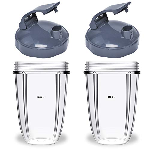 24oz Flip Top To Go Cup For Compatible with Nutribullet 24oz Cups & Lids & Rubber Gaskets For Compatible with Nutribullet 600W/900W High-Speed Juicer Blender Replacement Parts