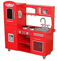 FEATURES: Store food in the fridge/freezer and then cook in the oven or microwave! Clean up afterwards in the sink! Kids play kitchen features stove, cabinet, oven and microwave open for easy storage and pretend play. MATERIAL: Made out of strong and...
