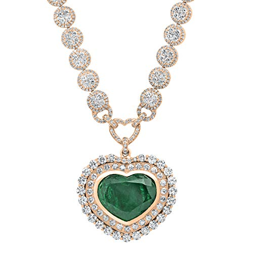 Dazzlingrock Collection Heart Colombian Emerald & Round White Diamond Ladies Halo Style Necklace, 18K Rose Gold