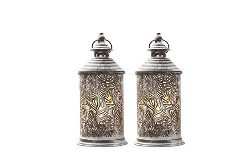 JHY DESIGN - Set di 2 lampade da tavolo in metallo funzionamento a batteria 26,5 cm di altezza con batteria Edison ideale per soggiorno camera da letto feste in interni ed esterni(coda di fenico)