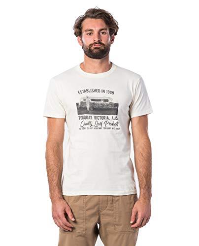 Rip Curl TUC TUC Tee Uomo,Maglietta,Manica Corta T-Shirt,Maniche Corte,Maniche Corte,Scollo Rotondo,Impronta,off White,S