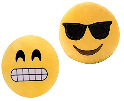 ML Set di 2 cuscini a forma di emoticon, cuscino rotondo con emoticon peluche ricamato, 35 x 35 x 5 cm, granone e occhiali