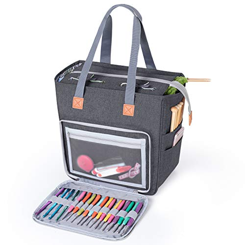 Luxja Knitting Tote Bag, Yarn Storage Bag for Carrying Projects, Knitting Needles, Crochet Hooks and Other Accessories, Gray