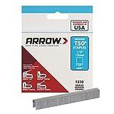 Arrow Fastener 508 Genuine T50 1/2-Inch Staples, 1,250-Pack