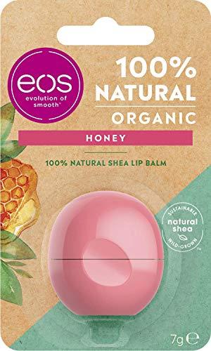 eos Organic Honey Lip Balm, feuchtigkeitsspendende Lippenpflege, mit mildem Honig, für weiche Lippen, mit natürlicher Sheabutter, 7 g